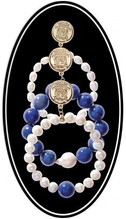 Bowerhaus Edward Trio Bracelets. Baroque & Freshwater Pearls with Lapis. Baroque pearls are highly prized for their elaborate shapes, their irregularities and individual blemishes. Each bowerhaus Bracelet has been designed for easy use using triple strung elasta-cord. Each bracelet has a 24K gold plated designer-stamped Bowerhaus coin. $120
