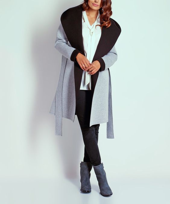 Look at this NAOKO Gray & Black Color Block Trench Coat on #zulily today!