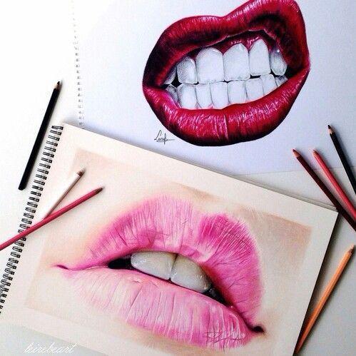 Art Beautiful Drawing Kiss Lips Mouth Red