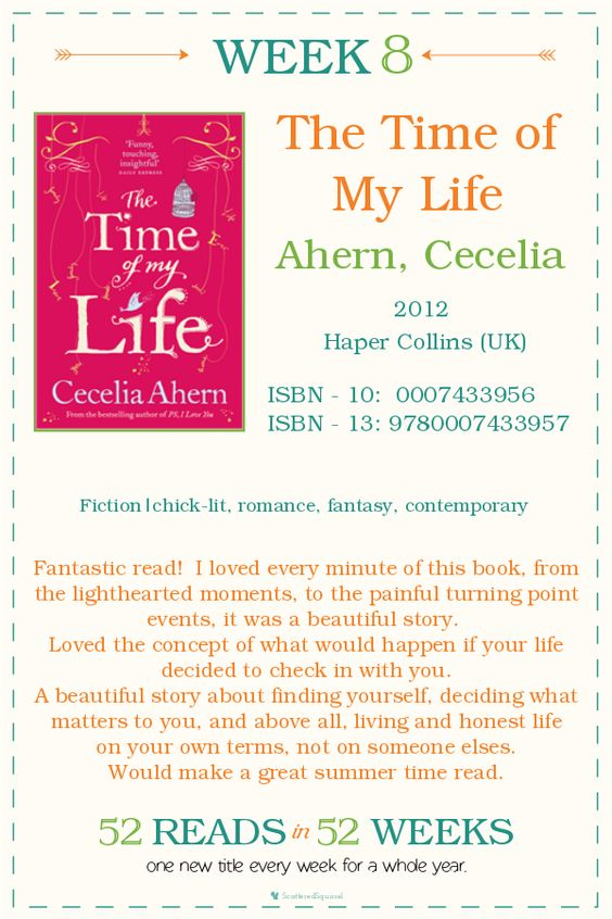 52 Reads in 52 Weeks, Week #8 Review of The Time of my Life by Cecelia Ahern | ScatteredSquirrel.com