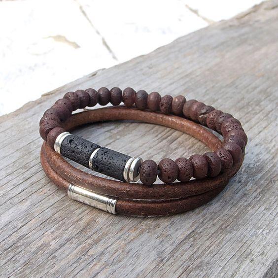 Leather bracelet set, Mens lava and leather bracelet set, Mala, Yoga, Meditation, Boho bracelet set for men
