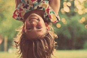 Upside Down Girl Kid Joy Bokeh Lights HD Wallpaper