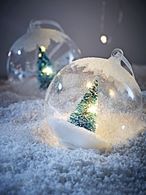 £13.88 for 6 Add a bit of festive magic to your tree with our set of six light up baubles. Beautifully crafted from quality glass, each bauble is carefully filled with a miniature battery powered light-up brush tree and dusting of snow. Complete with a white organza ribbon loop for hanging and glittery top, these clever baubles will light up your Christmas display.