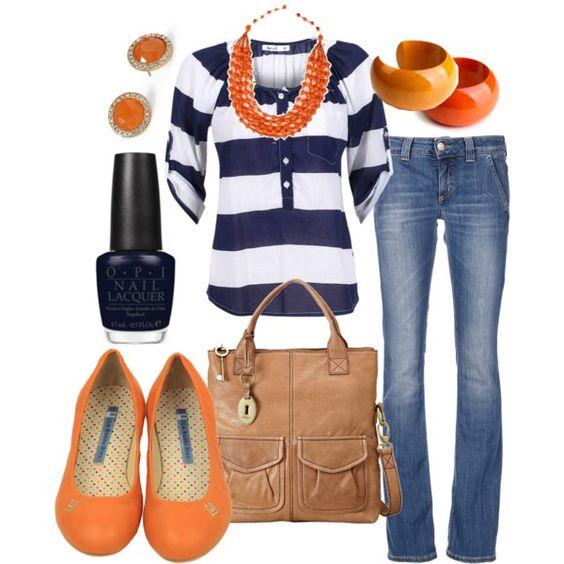 Navy and orange!