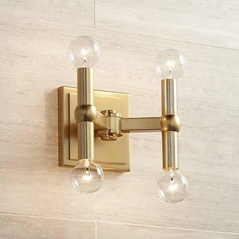 Marya 5 1 2 High Dark Satin Brass 4 Light Wall Sconce 15f37 Lamps Plus Wall Lights Modern Wall Lights Wall Sconces