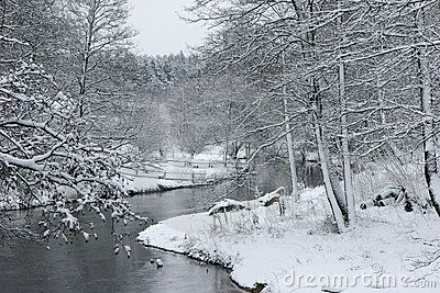 River Ula in winter: