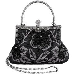 MG Collection Exquisite Antique Seed Beaded Rose Evening Clutch Handbag - Best Black Evening Bags - SEE THEM HERE - http://www.perfect-gift-store.com/best-black-evening-bags.html