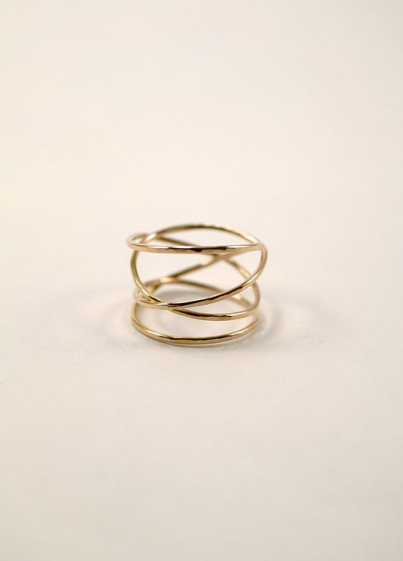 Large Gold Wrap ring 14k gold fill wraparound ring by hannahnaomi