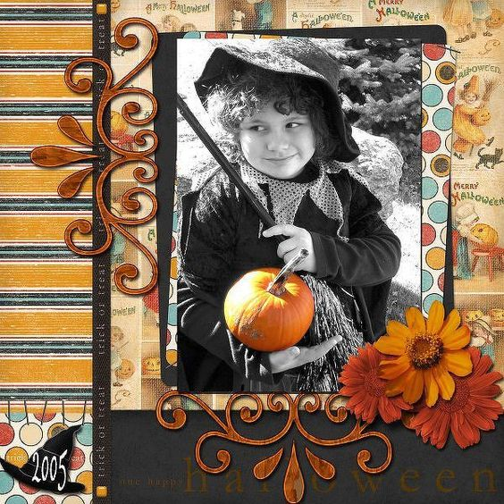 Scrapbook page I made of my daughter at Halloween.