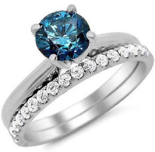 1.10 Ct Blue & White Sim Diamond Engagement Ring Wedding Set 14K White Gold #Jewelsbyeanda #Solitaire #EngagementWeddingAnniversaryPromise