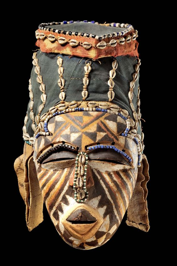 Africa | Mask from the Kuba people of Congo | Wood, polychrome paint, cowrie…