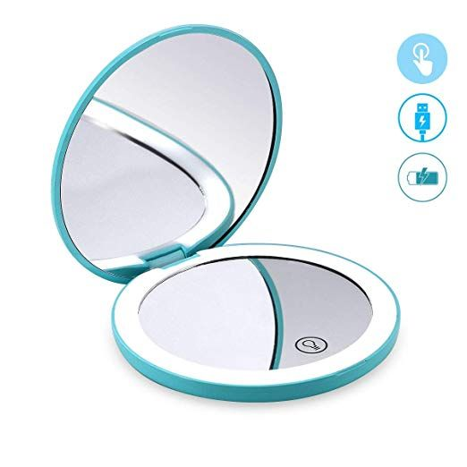 Glam Hobby Led Lighted Travel Makeup Mirror 1x 7x Magnification