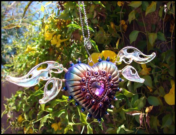Winged Heart Sun-catcher - Fire Dancer. Come check out my website www.beadworx.com