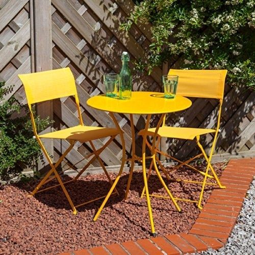 3 Pc Garden Bistro Set For 2 - Orange Steel Frame Foldable Chairs: