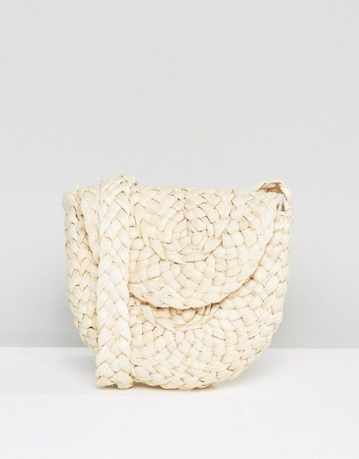 Glamorous Paper Straw Cross Body Bag in Natural: