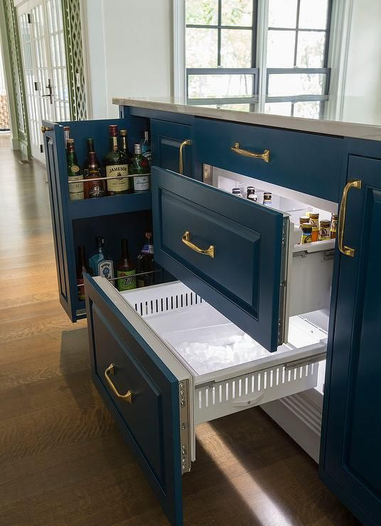 This Blue Center Island Features A Beverage Drawer For Liquor Along With An Ice Maker And Cooler Galley Kitchen Remodel Kitchen Remodel Small Kitchen Remodel