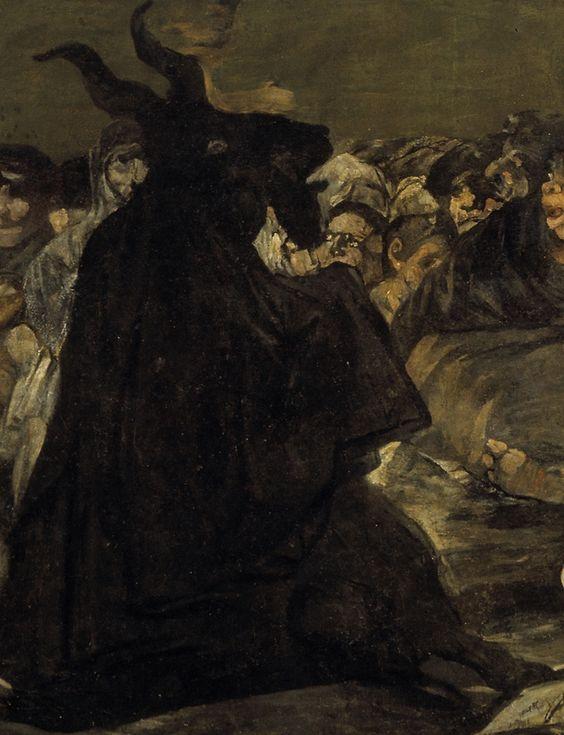 """""""Il sabba delle streghe"""" (particolare della capra)  Data di produzione: 1819-1823  Dimensioni: 140×438 cm  Dove si trova: Museo del Prado, Madrid"""