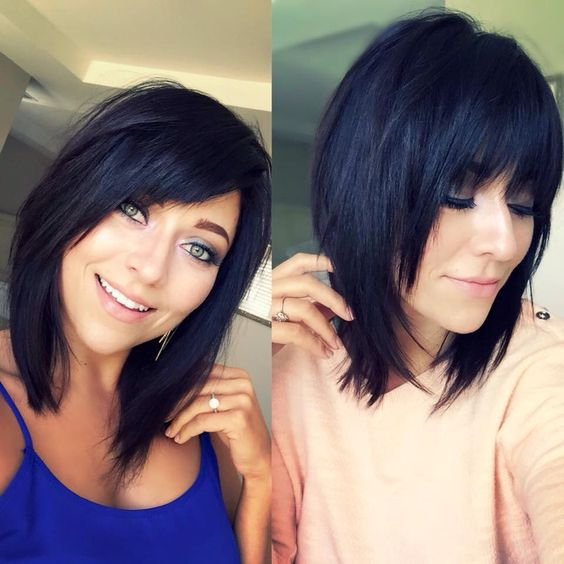 Beautiful mid-length brunette bob with a lot of layers, texture, and a textured fringe.