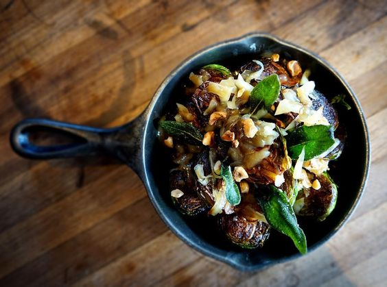 Roasted Brussels sprouts, Emmantal, hazelnuts, sage.