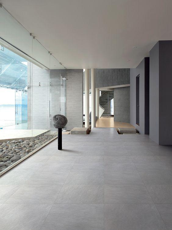 Woonkamer Met Grijze Vloer : Grijze muur witte keuken interieur p ...