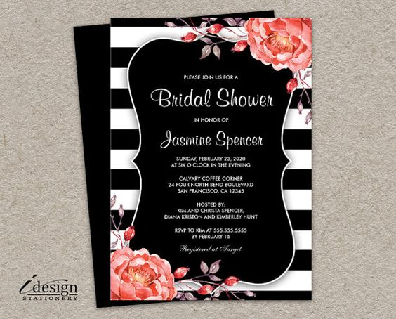 Printable Black And White Stripe Bridal by iDesignStationery