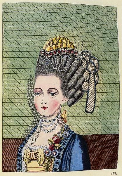 Between 1768 and 1770, Legros de Rumigny published a five volume work devoted to the art of female hairdressing. In the last years of the 1760's, woman's coiffures increased in height and elaboration, and were decorated with ribbons, lace, jewels, artificial flowers, feathers, and small caps. The one hundred engraved plates contained in the complete set of L'Art de la Coeffure anticipate the towering and extravagant hairstyles that characterized the 1770's. …pg 18