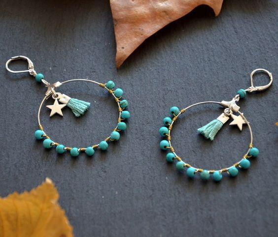 """Boucles d'oreilles """"Lila"""" pierre turquoise et métal argent"""