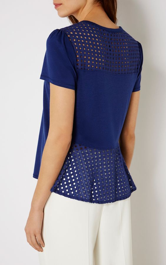 BRODERIE-PANELLED T-SHIRT | Luxury Women's new-in_garments | Karen Millen