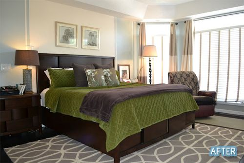 love the green bedding and gray patterned rug