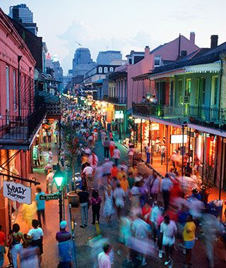 You'd have to be a pretty big curmudgeon for Bourbon Street not to put you in a good mood. Free-flowing music and booze might have something to do with it. Restaurants and bars pack this historic strip of the French Quarter; Jean Lafitte's Blacksmith Shop is even rumored to be haunted. Of course, if you really like crowds, grab your mask and join the Mardi Gras circus.