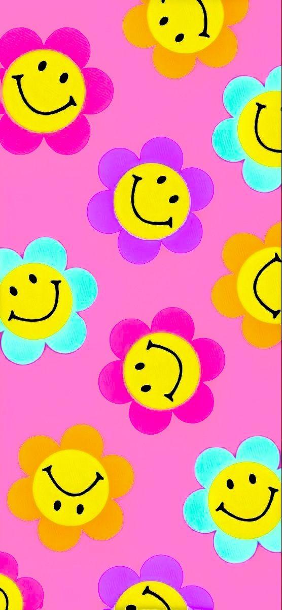 Pink Smiley Flowers Cute Patterns Wallpaper Hippie Wallpaper Mini Canvas Art