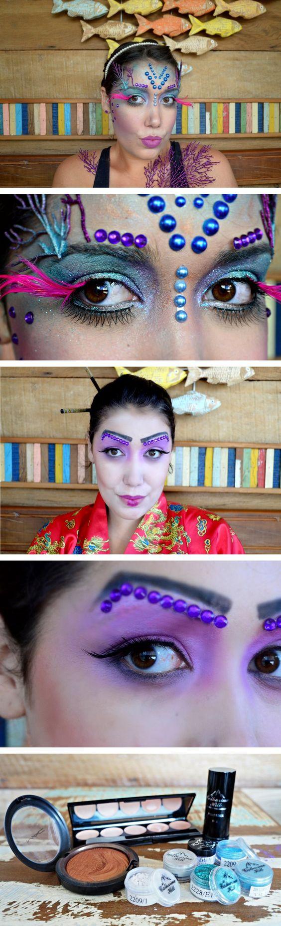 Maquiagem artística de Sereia e Maquiagem de Gueixa