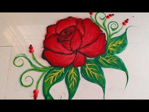 Beautiful Red Rose Rangoli Designs With Colours For Festivals And Competitions Kolam Muggulu Rangoli Designs Flower Flower Drawing Colorful Rangoli Designs