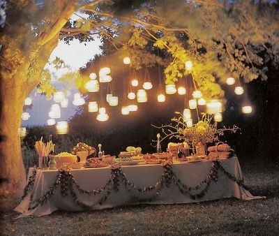 love this: Hanging Lights, Thanksgiving Dinner, Buffet Table, Outdoor Lighting, Dream Wedding, Party Table, Outdoor Lights, Party Ideas