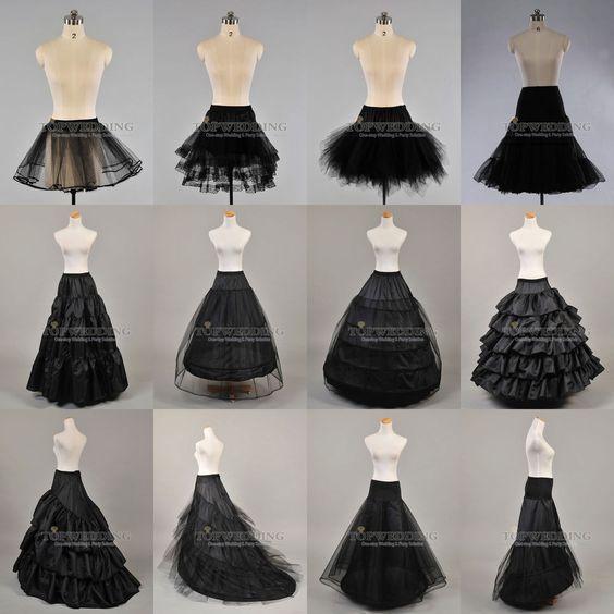 Weiß Schwarz Reifrock Petticoat Brautkleid Krinoline 1,2,3,4,5 Ringe Gr.32-58