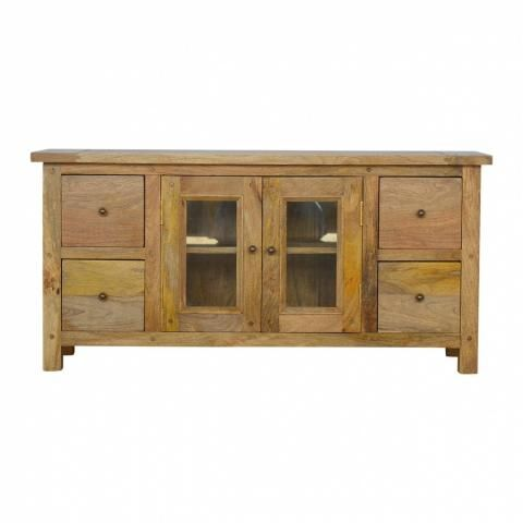 Our Solid Timber Media Unit Is Expertly Constructed From 100 Solid Mango Wood And Has Fine Oak Ish F Wood Furniture Living Room Artisan Furniture Glazed Door