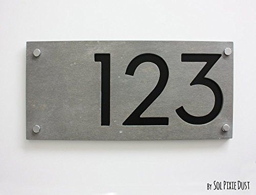 Modern House Numbers Rectangle Concrete with Black Acrylic