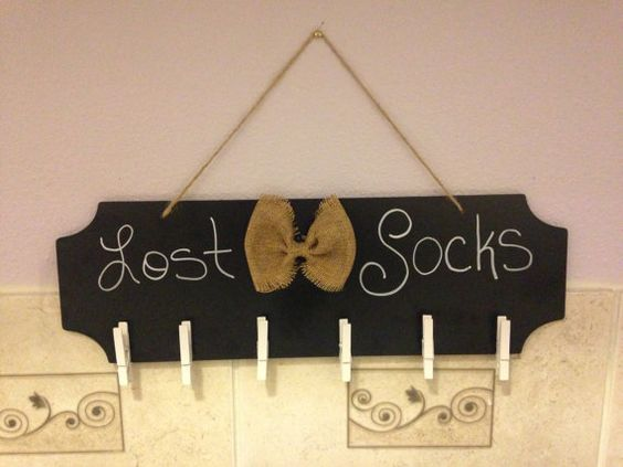 Rustic Lost Socks Chalkboard with bow Holds up by XandysCraftShop