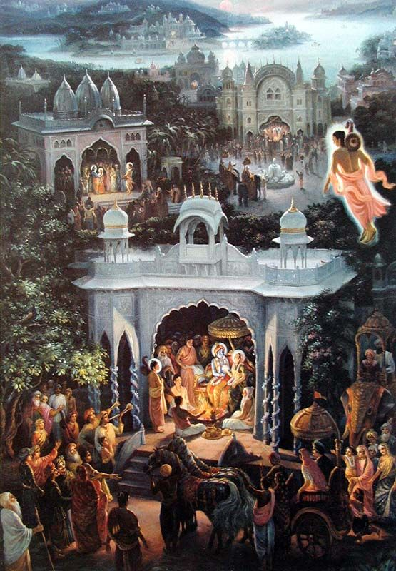 Sage Narada visits the homes of Lord Krishna.: