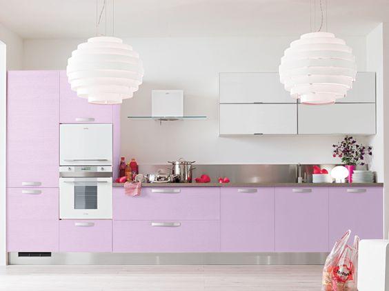 Cucina lineare moderna l.390 cm anta poro frassino traverso lilla ...