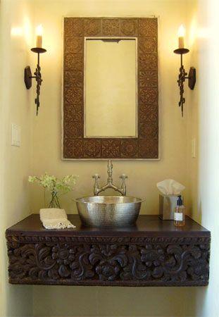 A rich looking guest bathroom in santa fe style from for Santa fe style bathroom ideas