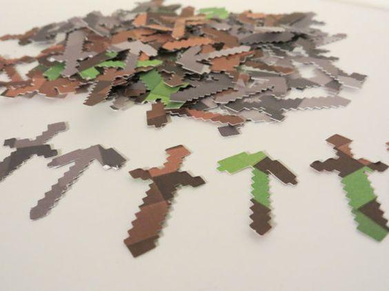 minecraft confetti, sword and axe minecraft cut out confetti, minecraft party confetti, table confetti 100 pcs.