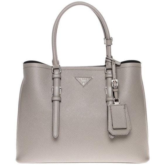 prada leather brown bag - Pre-owned Prada Grey Tote Bag ($2,676) ? liked on Polyvore ...