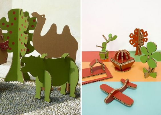 Cardboard cutouts as animals! This is such a cheap project (if you have the cardboard laying around) but so much fun for the kids. Next time I order something big I will be saving my cardboard.