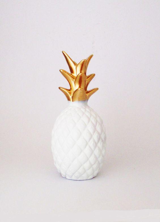 Glitter Pineapple, Tropical Decor, Pineapple, Ceramic Pineapple, Pineapple Decor, Coastal Decor, Summer, Pineapple Figurine, by mahalobeach on Etsy: