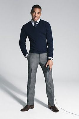 navy sweater shirt and tie combo rather dashing