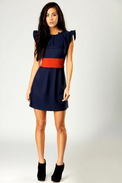 Navy blue dress with orange belt | fashionista | Pinterest | Her ...