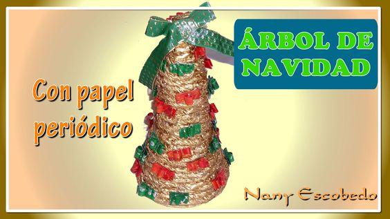 Rbol de navidad con papel peri dico cester a en papel - Adornos de navidad con papel periodico ...