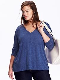 Burnout Sweater-Knit Plus-Size Tee