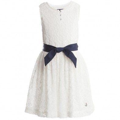 Tommy Hilfiger Girls White Cotton Dress With Belt at Childrensalon ...
